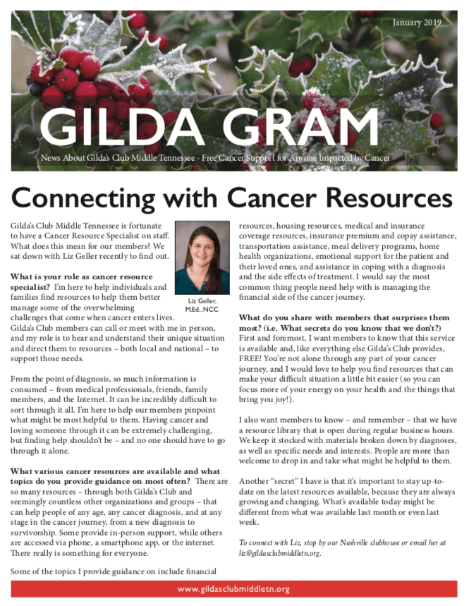 Gilda's Club Middle Tennessee GildaGram Newsletter free cancer support Nashville